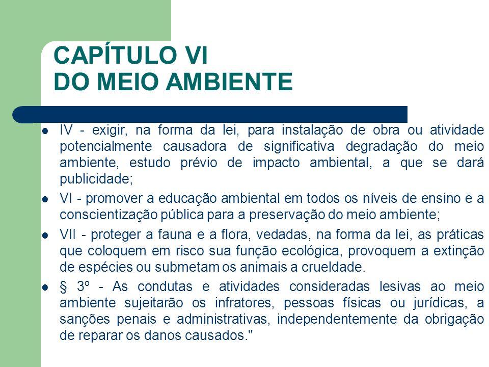 CAPÍTULO VI DO MEIO AMBIENTE IV - exigir, na forma da lei, para instalação de obra ou atividade potencialmente causadora de significativa degradação d