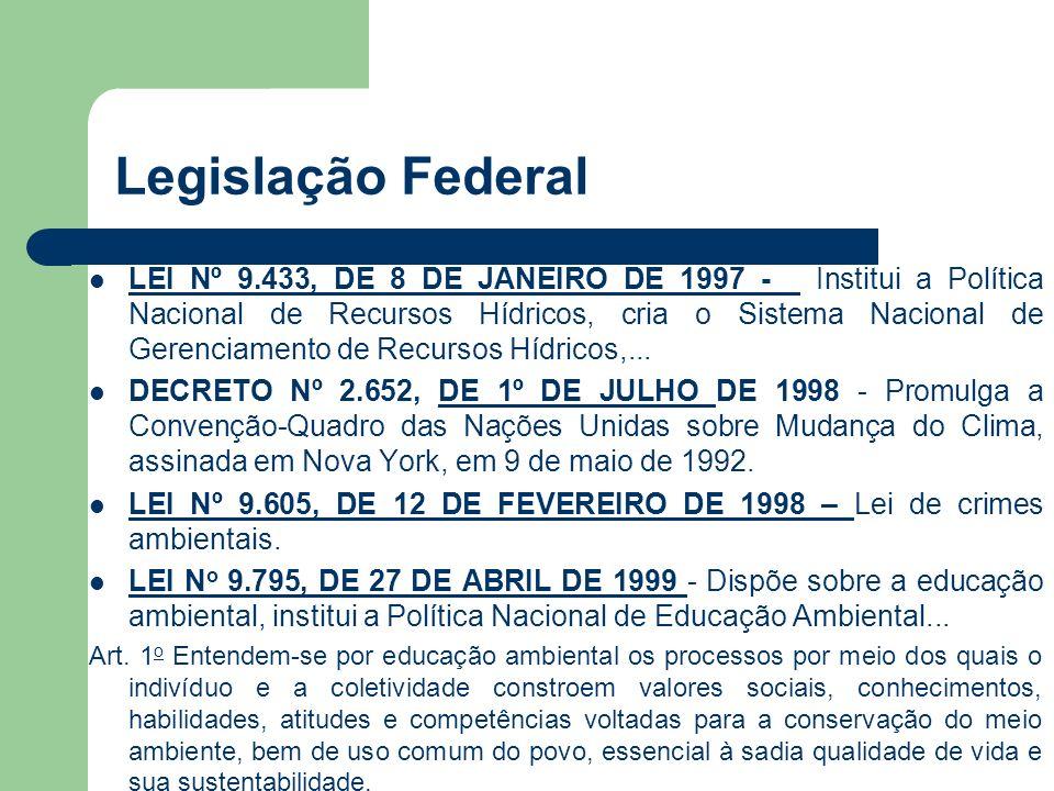 Legislação Federal LEI Nº 9.433, DE 8 DE JANEIRO DE 1997 - Institui a Política Nacional de Recursos Hídricos, cria o Sistema Nacional de Gerenciamento