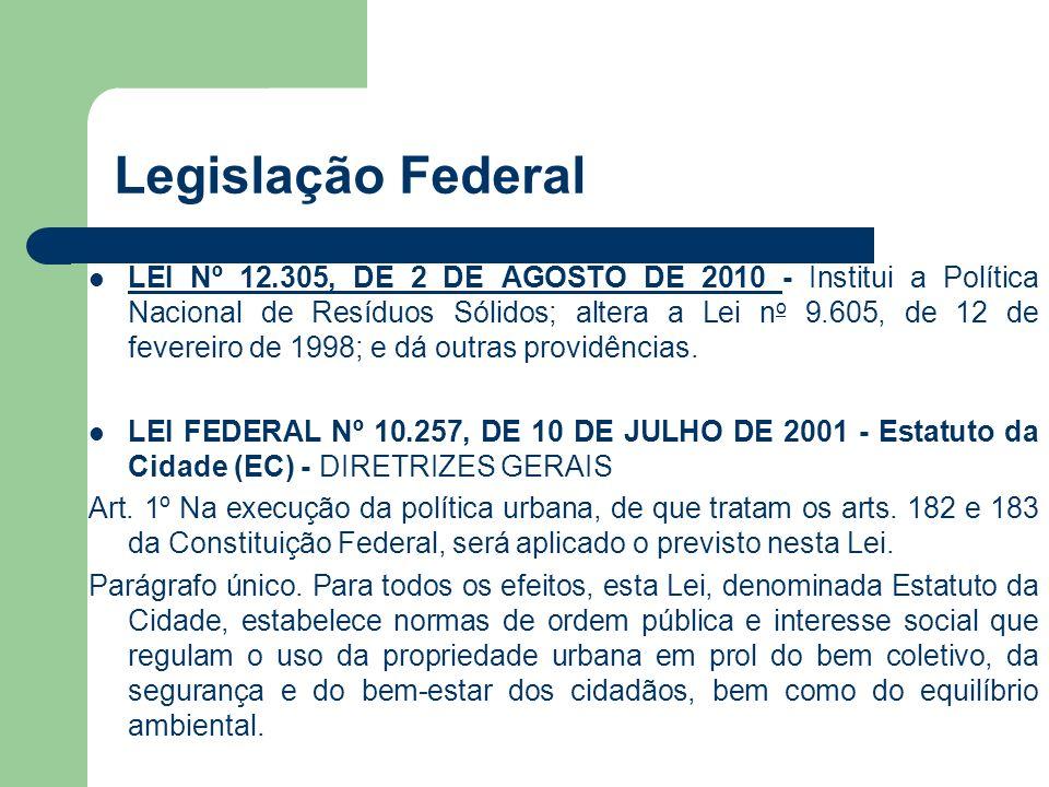 Legislação Federal LEI Nº 12.305, DE 2 DE AGOSTO DE 2010 - Institui a Política Nacional de Resíduos Sólidos; altera a Lei n o 9.605, de 12 de fevereir