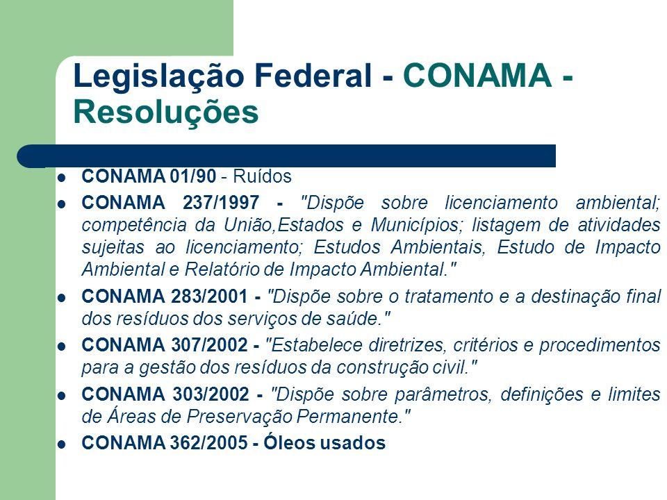 Legislação Federal - CONAMA - Resoluções CONAMA 01/90 - Ruídos CONAMA 237/1997 -