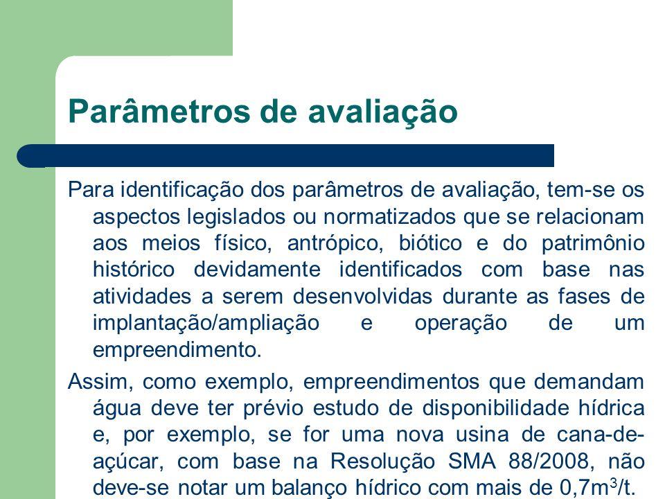 Parâmetros de avaliação Para identificação dos parâmetros de avaliação, tem-se os aspectos legislados ou normatizados que se relacionam aos meios físi