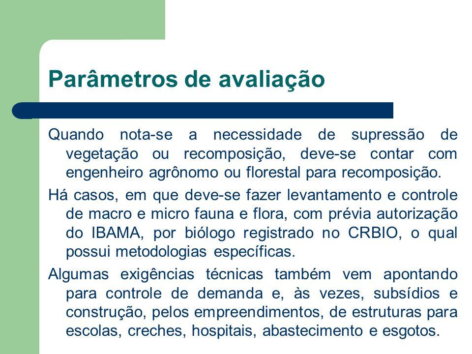 Parâmetros de avaliação Quando nota-se a necessidade de supressão de vegetação ou recomposição, deve-se contar com engenheiro agrônomo ou florestal pa