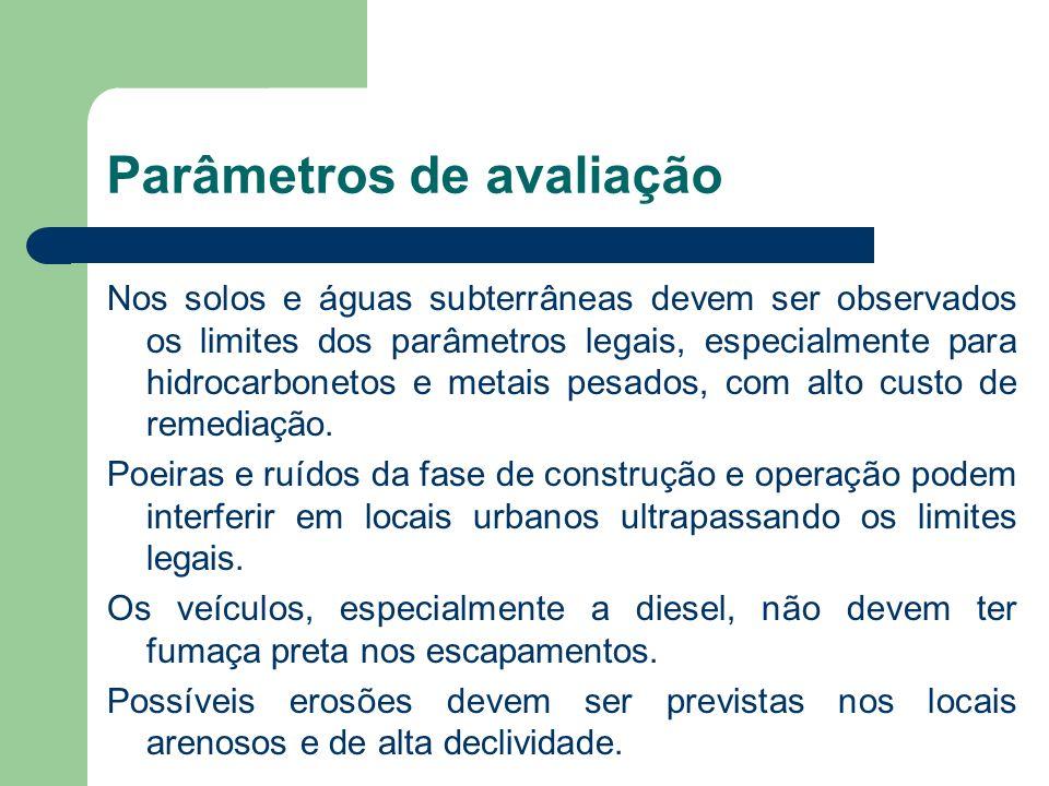 Parâmetros de avaliação Nos solos e águas subterrâneas devem ser observados os limites dos parâmetros legais, especialmente para hidrocarbonetos e met