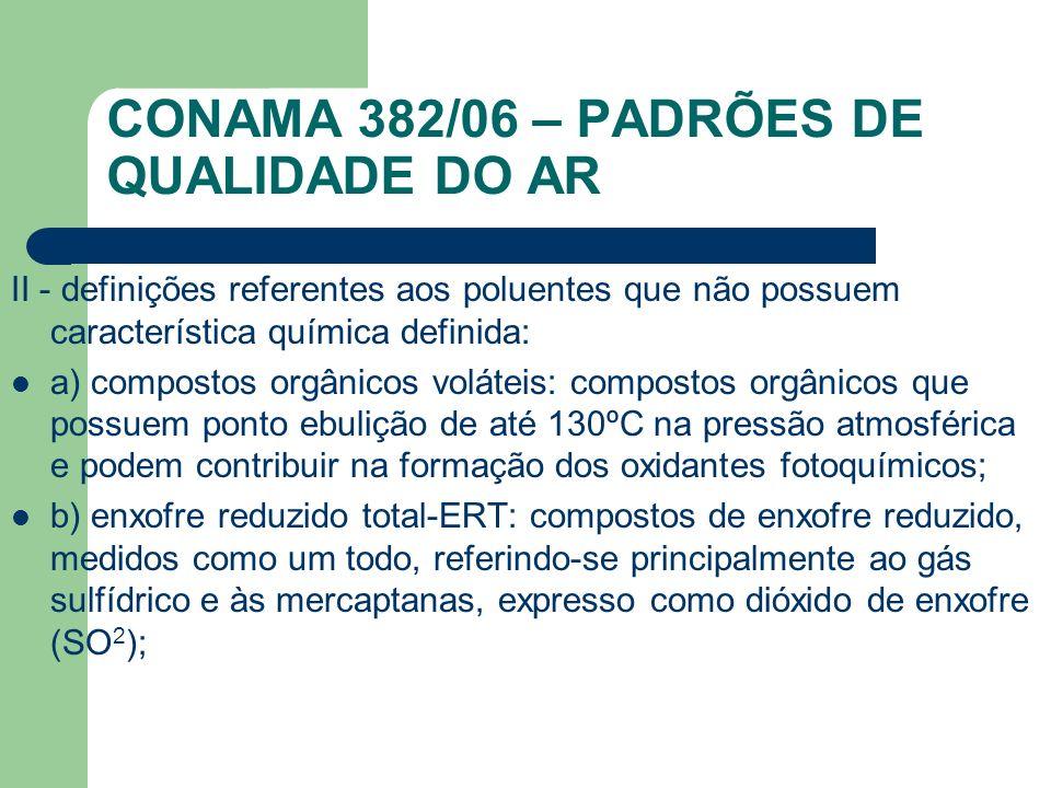 II - definições referentes aos poluentes que não possuem característica química definida: a) compostos orgânicos voláteis: compostos orgânicos que pos