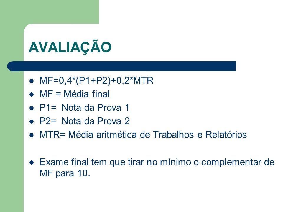 AVALIAÇÃO MF=0,4*(P1+P2)+0,2*MTR MF = Média final P1= Nota da Prova 1 P2= Nota da Prova 2 MTR= Média aritmética de Trabalhos e Relatórios Exame final