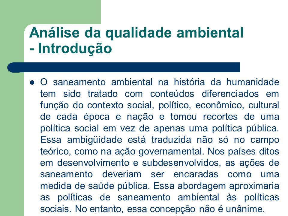 Análise da qualidade ambiental - Introdução O saneamento ambiental na história da humanidade tem sido tratado com conteúdos diferenciados em função do