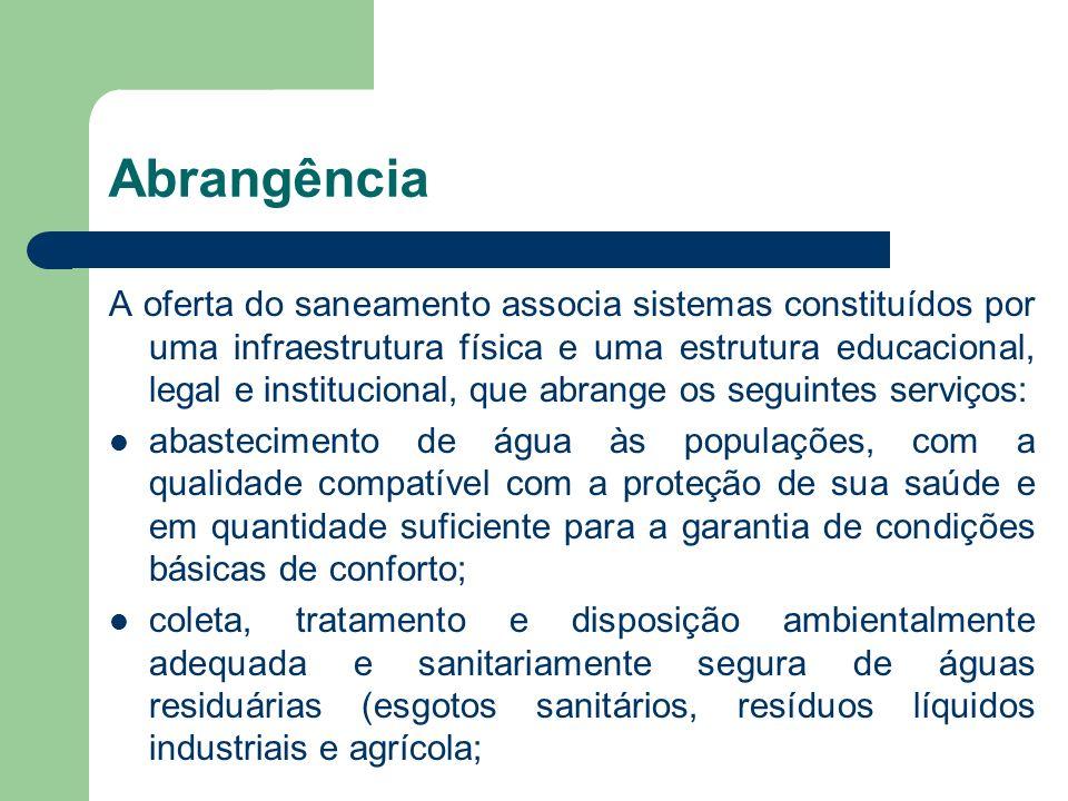 Abrangência A oferta do saneamento associa sistemas constituídos por uma infraestrutura física e uma estrutura educacional, legal e institucional, que