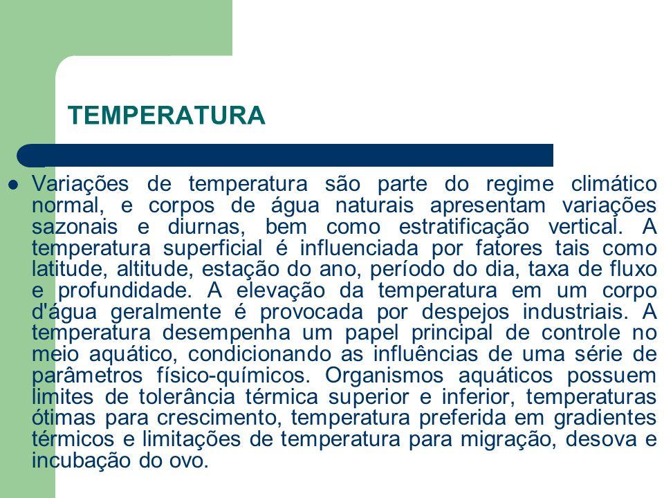 Variações de temperatura são parte do regime climático normal, e corpos de água naturais apresentam variações sazonais e diurnas, bem como estratifica