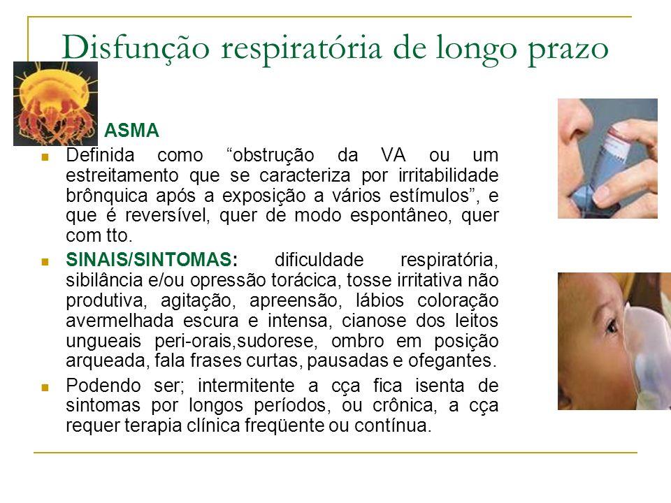 Disfunção respiratória de longo prazo ASMA Definida como obstrução da VA ou um estreitamento que se caracteriza por irritabilidade brônquica após a ex