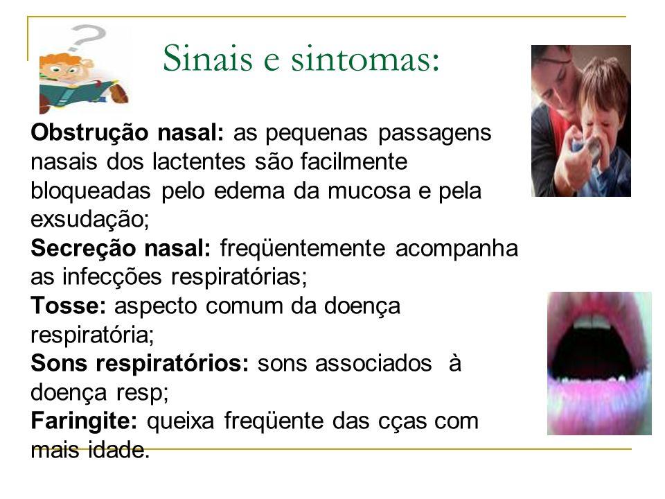 Sinais e sintomas: Obstrução nasal: as pequenas passagens nasais dos lactentes são facilmente bloqueadas pelo edema da mucosa e pela exsudação; Secreç