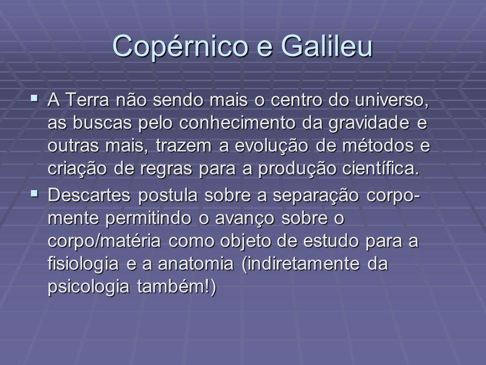 Copérnico e Galileu A Terra não sendo mais o centro do universo, as buscas pelo conhecimento da gravidade e outras mais, trazem a evolução de métodos