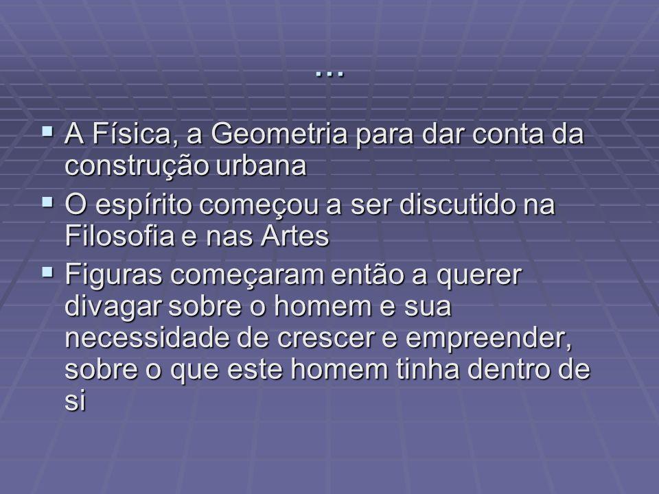 ... A Física, a Geometria para dar conta da construção urbana A Física, a Geometria para dar conta da construção urbana O espírito começou a ser discu