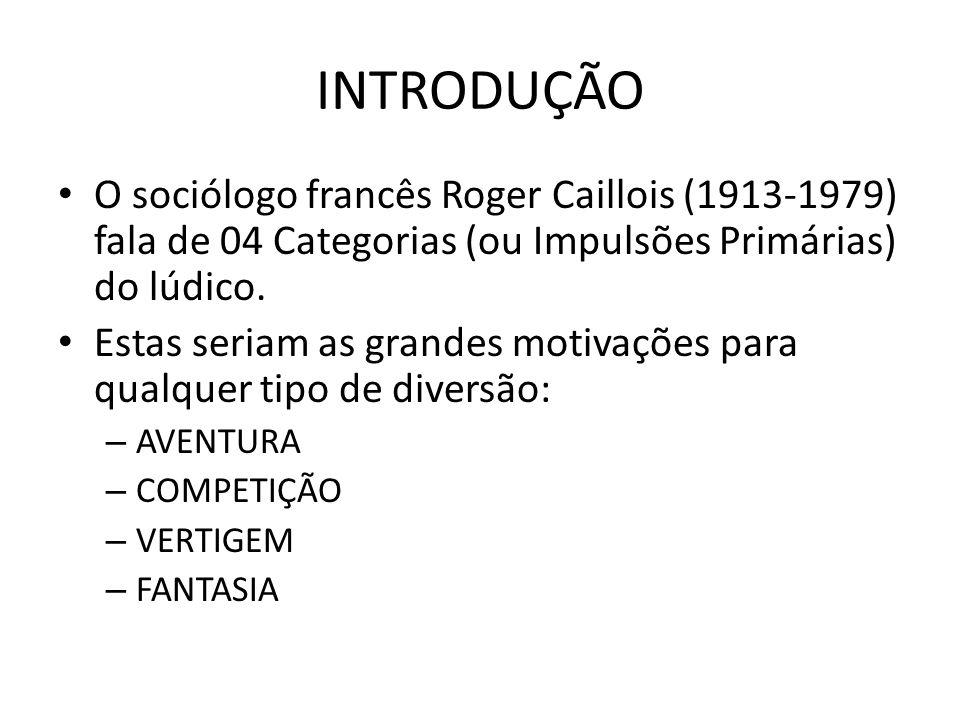 INTRODUÇÃO O sociólogo francês Roger Caillois (1913-1979) fala de 04 Categorias (ou Impulsões Primárias) do lúdico. Estas seriam as grandes motivações