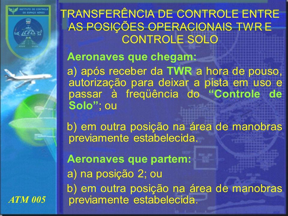 ATM 005 TRANSFERÊNCIA DE CONTROLE ENTRE AS POSIÇÕES OPERACIONAIS TWR E CONTROLE SOLO Aeronaves que chegam: a) após receber da TWR a hora de pouso, aut