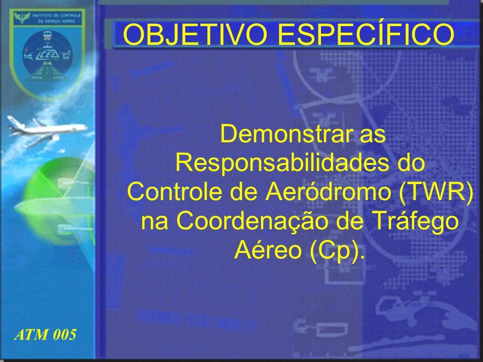 ATM 005 OBJETIVO ESPECÍFICO Demonstrar as Responsabilidades do Controle de Aeródromo (TWR) na Coordenação de Tráfego Aéreo (Cp).