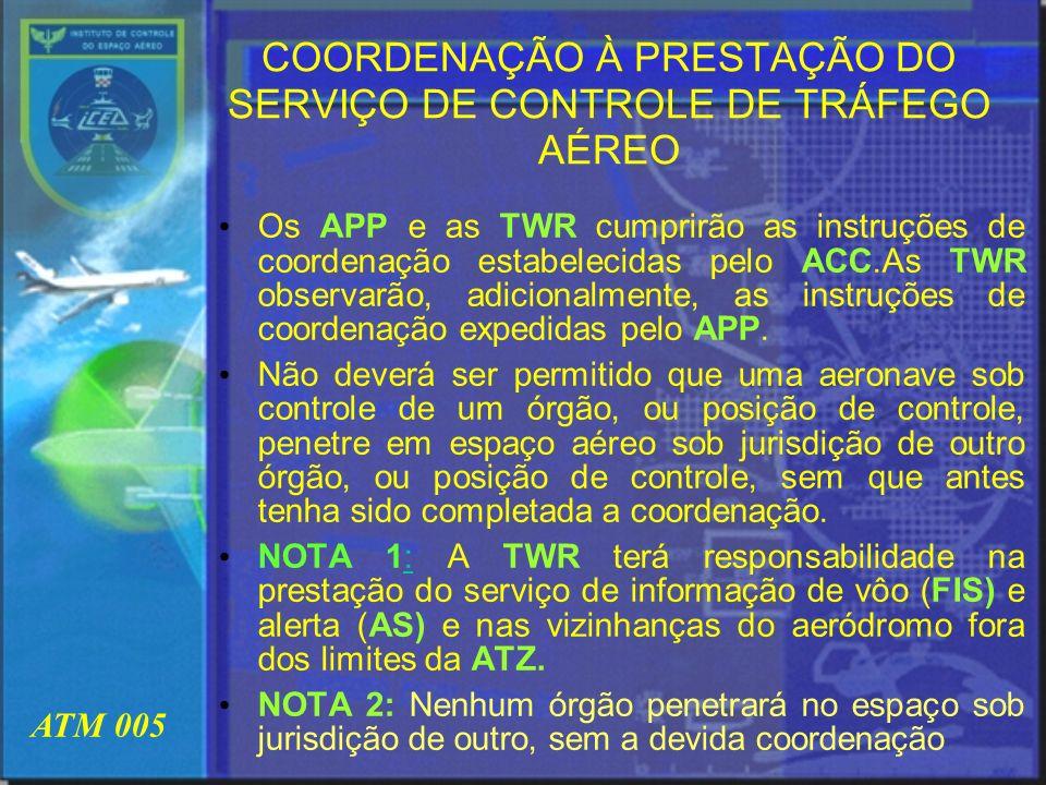 ATM 005 COORDENAÇÃO ENTRE O ACC E A TWR As coordenações entre o ACC e a TWR estão relacionadas em sua quase totalidade na aprovação de PLN.Somam-se a essas coordenações: o gerenciamento do fluxo de tráfego com (slots);horários de chegadas e partidas;a transferência de aeronave em vôo VFR diretamente para a TWR em coordenação com o APP; na prestação do serviço de alerta;suspensão das operações IFR e VFR do aeródromo; falha ou irregularidade no funcionamento de qualquer equipamento, luzes ou outros dispositivos e a coordenação de que a aeronave deixou de efetuar o contato inicial com a TWR, após ter sida transferida pelo ACC.