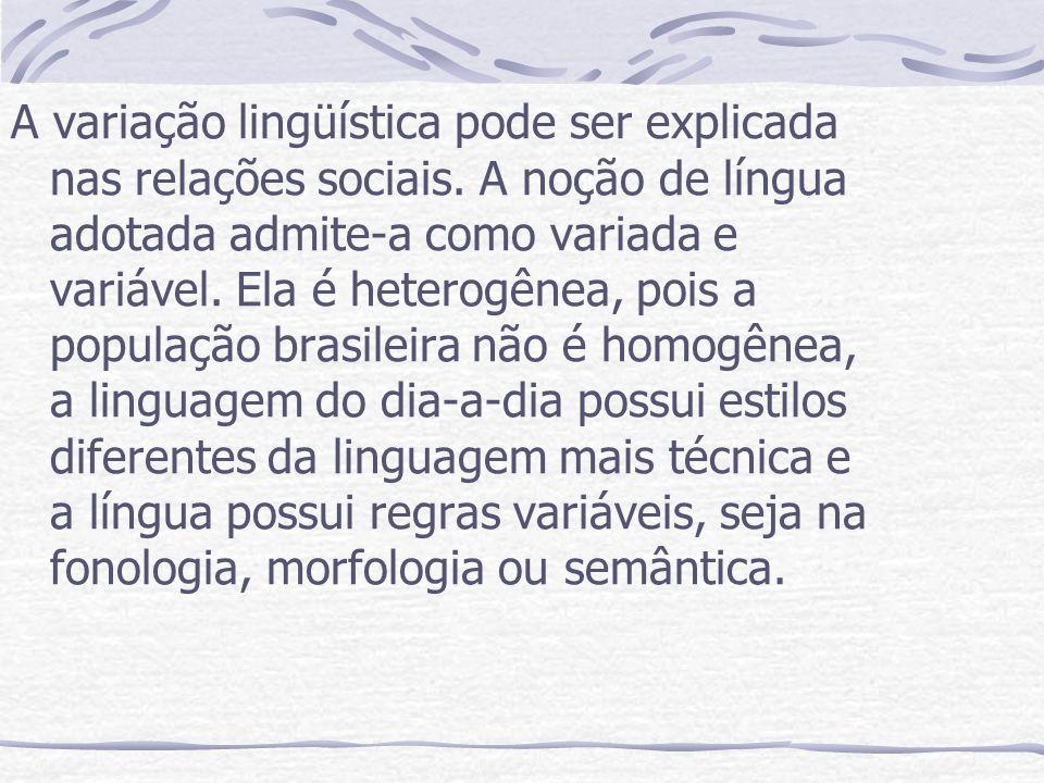 A variação lingüística pode ser explicada nas relações sociais. A noção de língua adotada admite-a como variada e variável. Ela é heterogênea, pois a