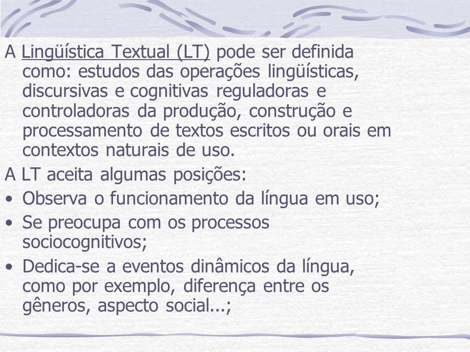 A Lingüística Textual (LT) pode ser definida como: estudos das operações lingüísticas, discursivas e cognitivas reguladoras e controladoras da produçã