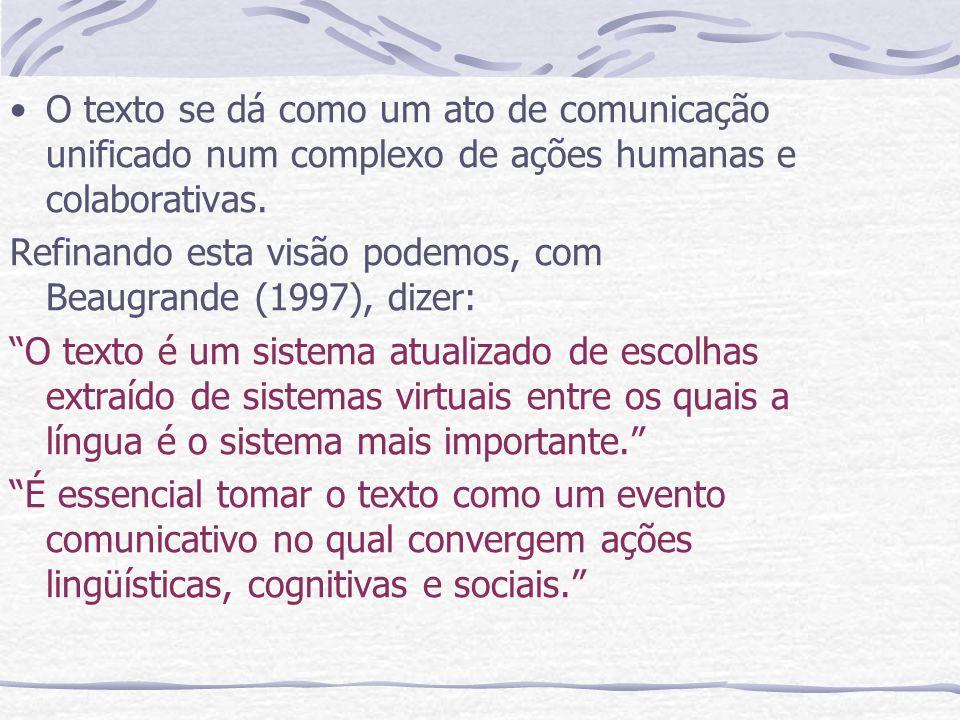 O texto se dá como um ato de comunicação unificado num complexo de ações humanas e colaborativas. Refinando esta visão podemos, com Beaugrande (1997),