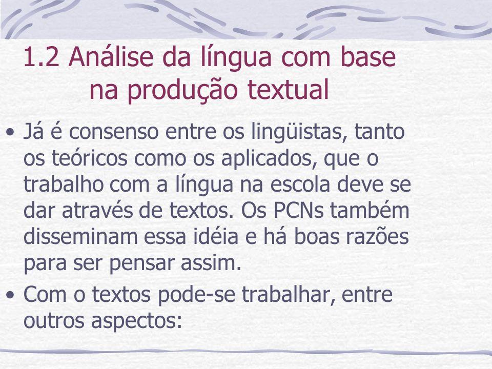 1.2 Análise da língua com base na produção textual Já é consenso entre os lingüistas, tanto os teóricos como os aplicados, que o trabalho com a língua