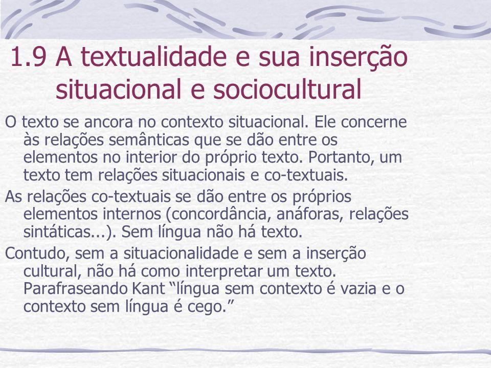 1.9 A textualidade e sua inserção situacional e sociocultural O texto se ancora no contexto situacional. Ele concerne às relações semânticas que se dã