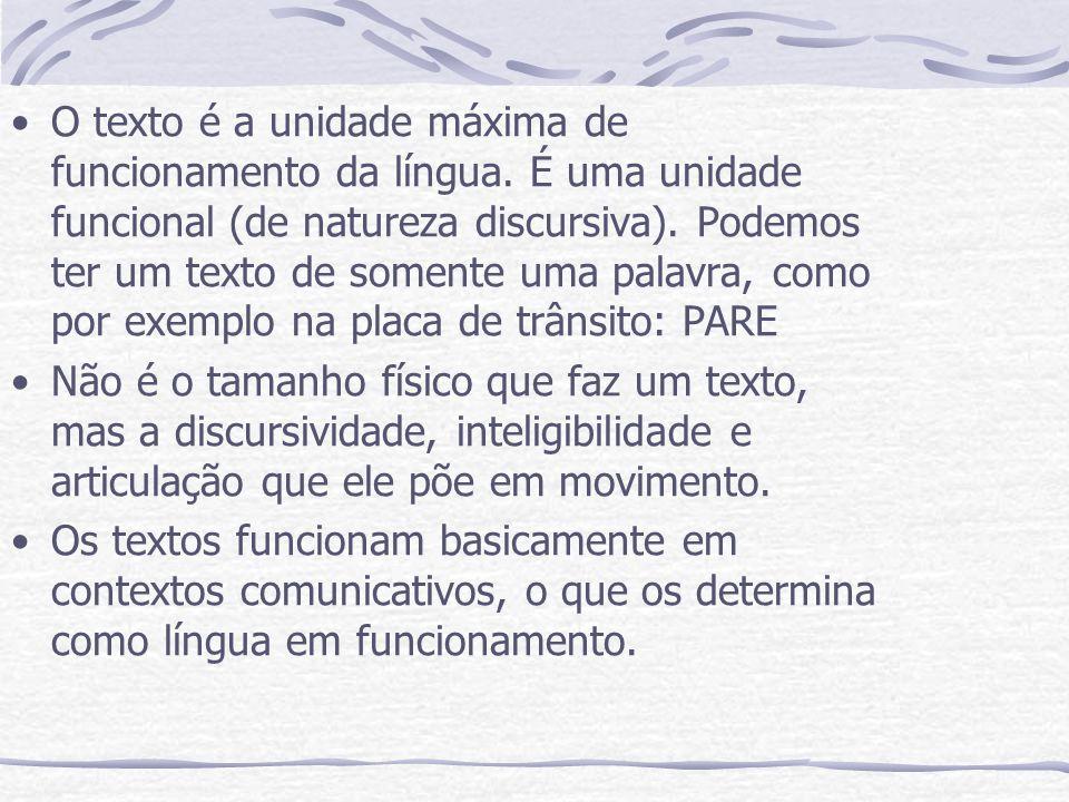 O texto é a unidade máxima de funcionamento da língua. É uma unidade funcional (de natureza discursiva). Podemos ter um texto de somente uma palavra,