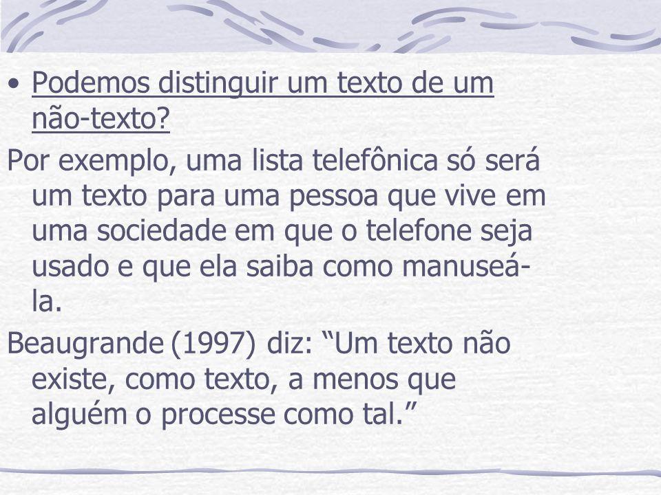 Podemos distinguir um texto de um não-texto? Por exemplo, uma lista telefônica só será um texto para uma pessoa que vive em uma sociedade em que o tel