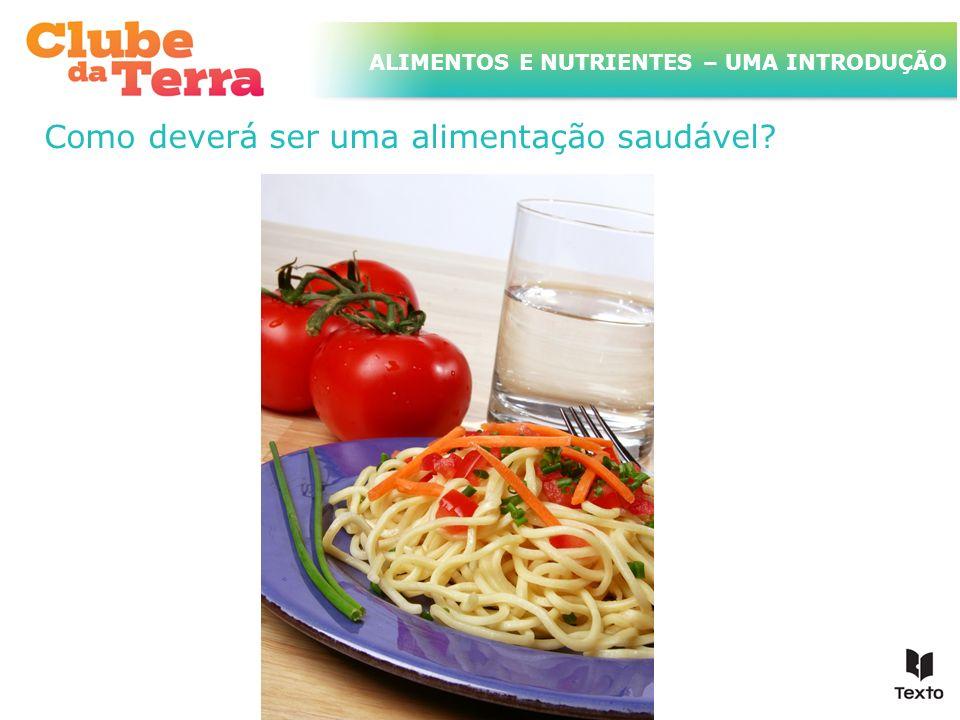 TÍTULO DO ASSUNTO A SER TRATADO NESTE POWERPOINT QUE TEM UM TÍTULO GRANDE ALIMENTOS E NUTRIENTES – UMA INTRODUÇÃO Como deverá ser uma alimentação saud