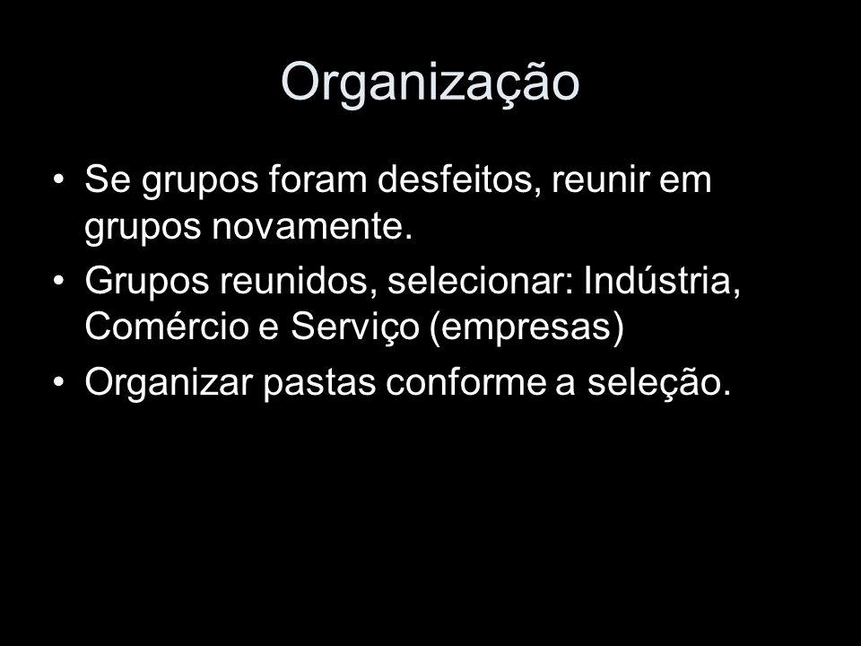 Organização Se grupos foram desfeitos, reunir em grupos novamente.