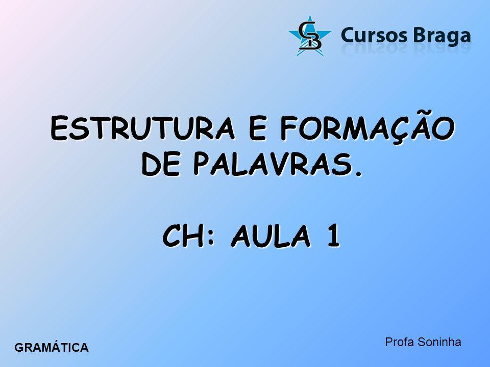 ESTRUTURA E FORMAÇÃO DE PALAVRAS. CH: AULA 1 Profa Soninha GRAMÁTICA