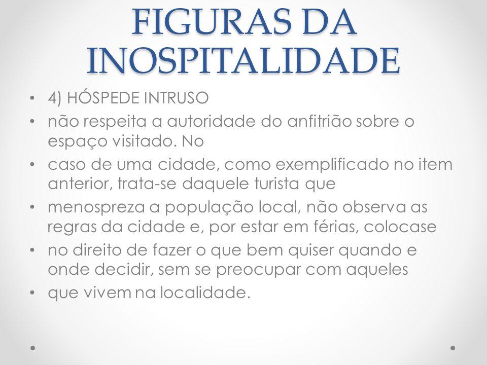 FIGURAS DA INOSPITALIDADE 5) HÓSPEDE PARASITA É aquele que vive através de quem lhe oferece hospitalidade.
