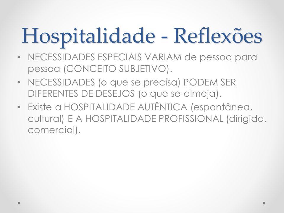 Hospitalidade - Reflexões NECESSIDADES ESPECIAIS VARIAM de pessoa para pessoa (CONCEITO SUBJETIVO). NECESSIDADES (o que se precisa) PODEM SER DIFERENT