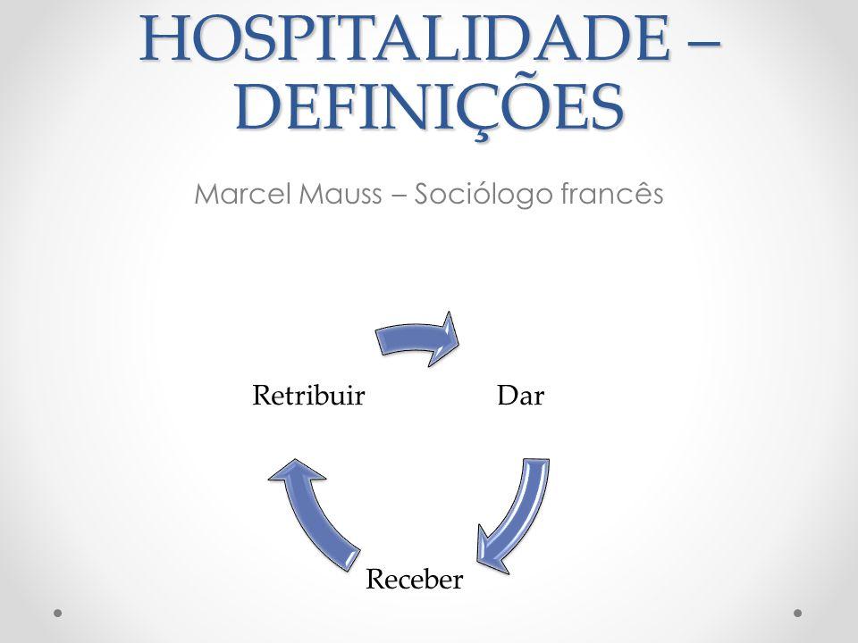 HOSPITALIDADE - DEFINIÇÕES Compreender a hospitalidade dessa maneira significa aceitar que o acolhimento é uma dádiva a ser oferecida, aceita e retribuída.