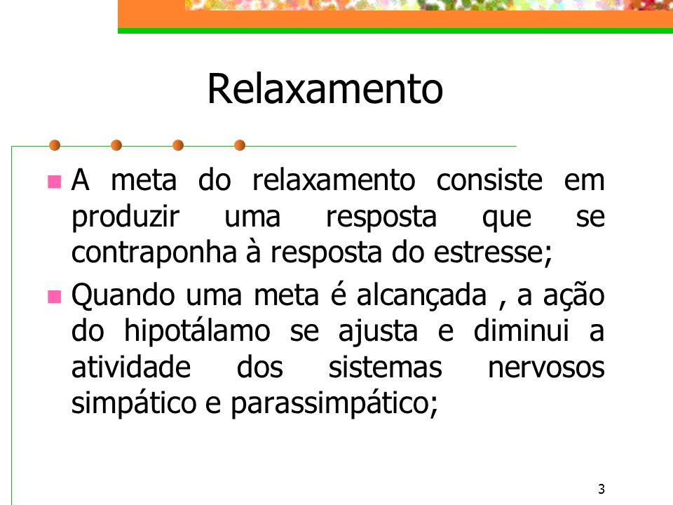 3 Relaxamento A meta do relaxamento consiste em produzir uma resposta que se contraponha à resposta do estresse; Quando uma meta é alcançada, a ação do hipotálamo se ajusta e diminui a atividade dos sistemas nervosos simpático e parassimpático;