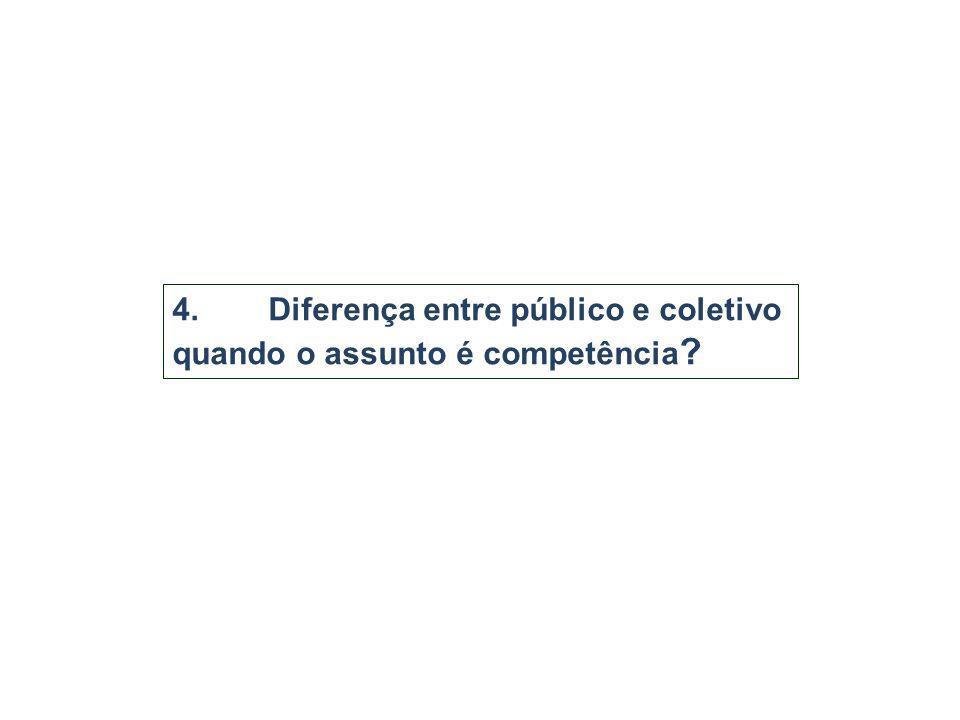 4.Diferença entre público e coletivo quando o assunto é competência ?