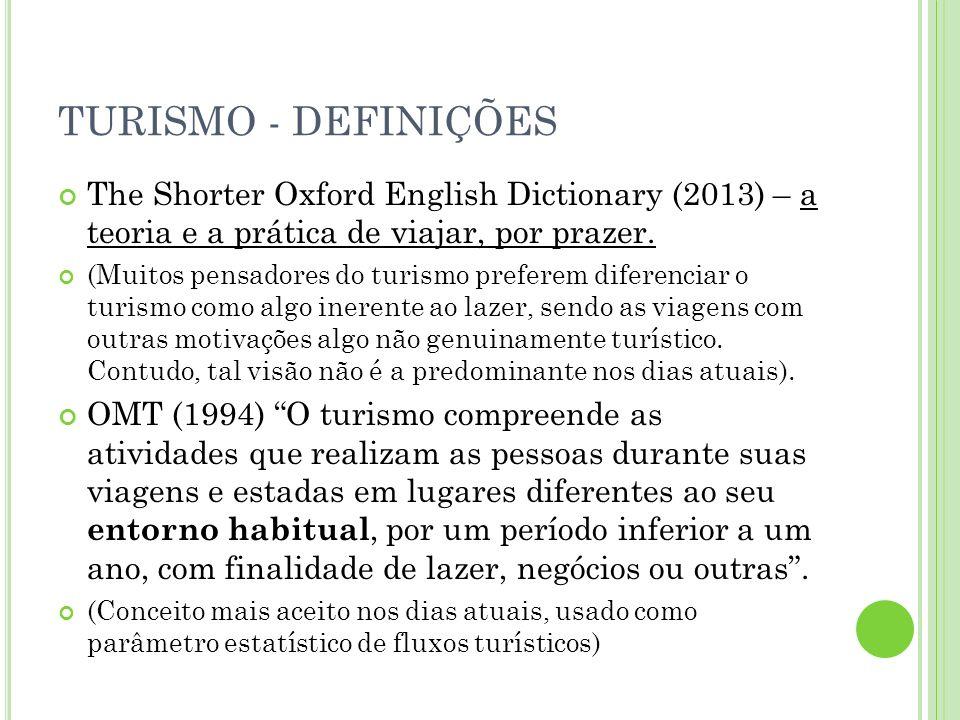 TURISMO - DEFINIÇÕES Burkart e Medik, 1891: Os deslocamentos curtos e temporais das pessoas para destinos fora do lugar de residência e de trabalho e as atividades empreendidas durante a estada nesses destinos.