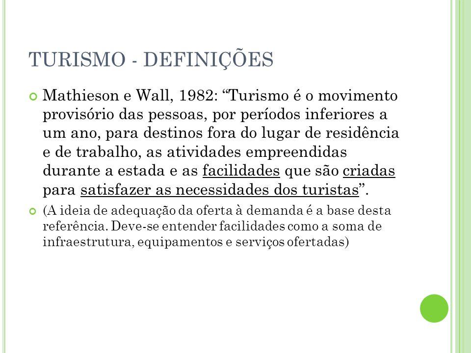 TURISMO - DEFINIÇÕES Mathieson e Wall, 1982: Turismo é o movimento provisório das pessoas, por períodos inferiores a um ano, para destinos fora do lug