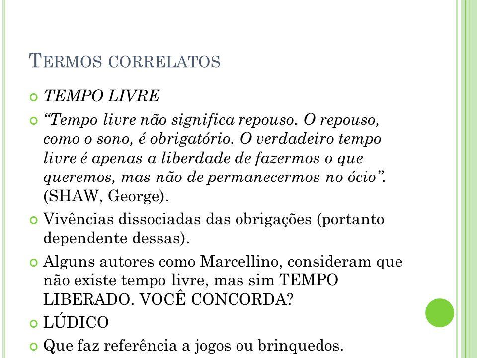 TERMOS CORRELATOS RECREAÇÃO Dinâmica sociocultural que produz o divertir-se moderno (CAMARGO, Luís Octávio).