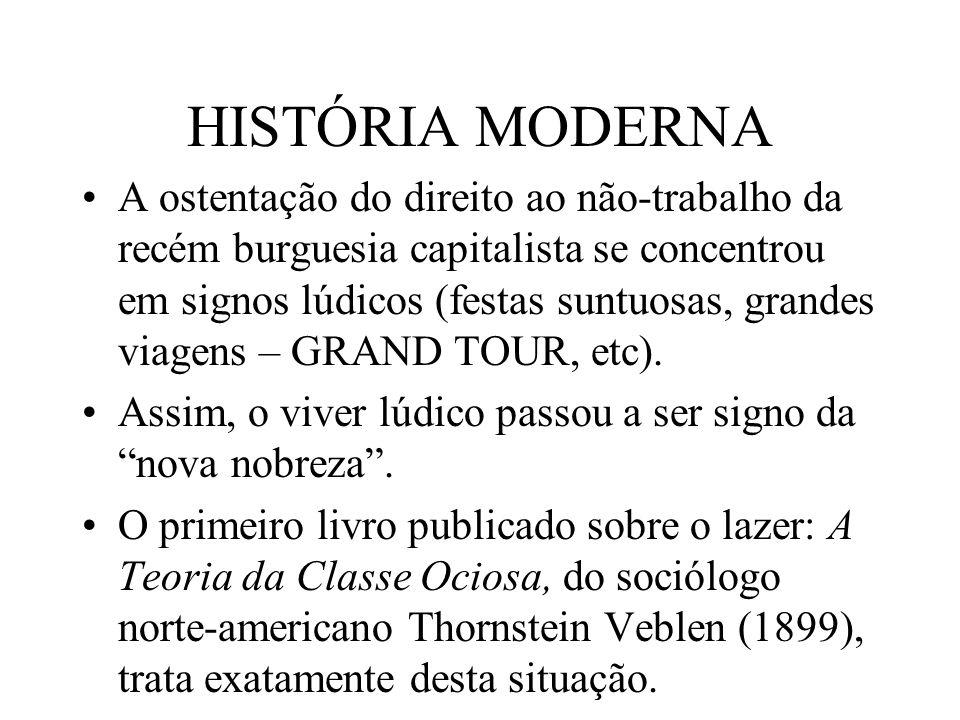 HISTÓRIA MODERNA A ostentação do direito ao não-trabalho da recém burguesia capitalista se concentrou em signos lúdicos (festas suntuosas, grandes via