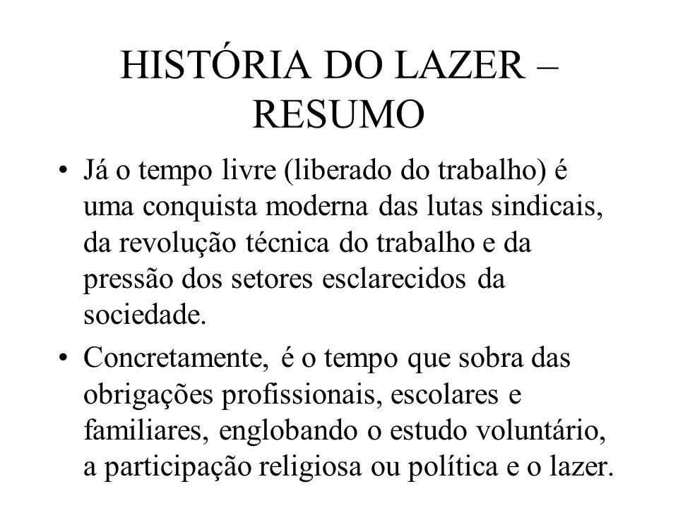 HISTÓRIA DO LAZER – RESUMO Já o tempo livre (liberado do trabalho) é uma conquista moderna das lutas sindicais, da revolução técnica do trabalho e da