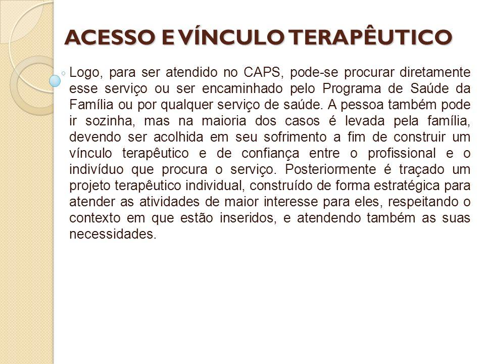 ACESSO E VÍNCULO TERAPÊUTICO Logo, para ser atendido no CAPS, pode-se procurar diretamente esse serviço ou ser encaminhado pelo Programa de Saúde da F