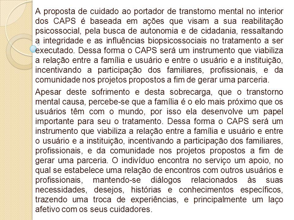 A proposta de cuidado ao portador de transtorno mental no interior dos CAPS é baseada em ações que visam a sua reabilitação psicossocial, pela busca d