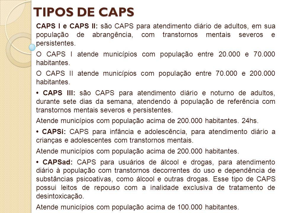 TIPOS DE CAPS CAPS I e CAPS II: são CAPS para atendimento diário de adultos, em sua população de abrangência, com transtornos mentais severos e persis