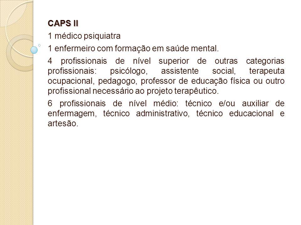 CAPS II 1 médico psiquiatra 1 enfermeiro com formação em saúde mental. 4 profissionais de nível superior de outras categorias profissionais: psicólogo