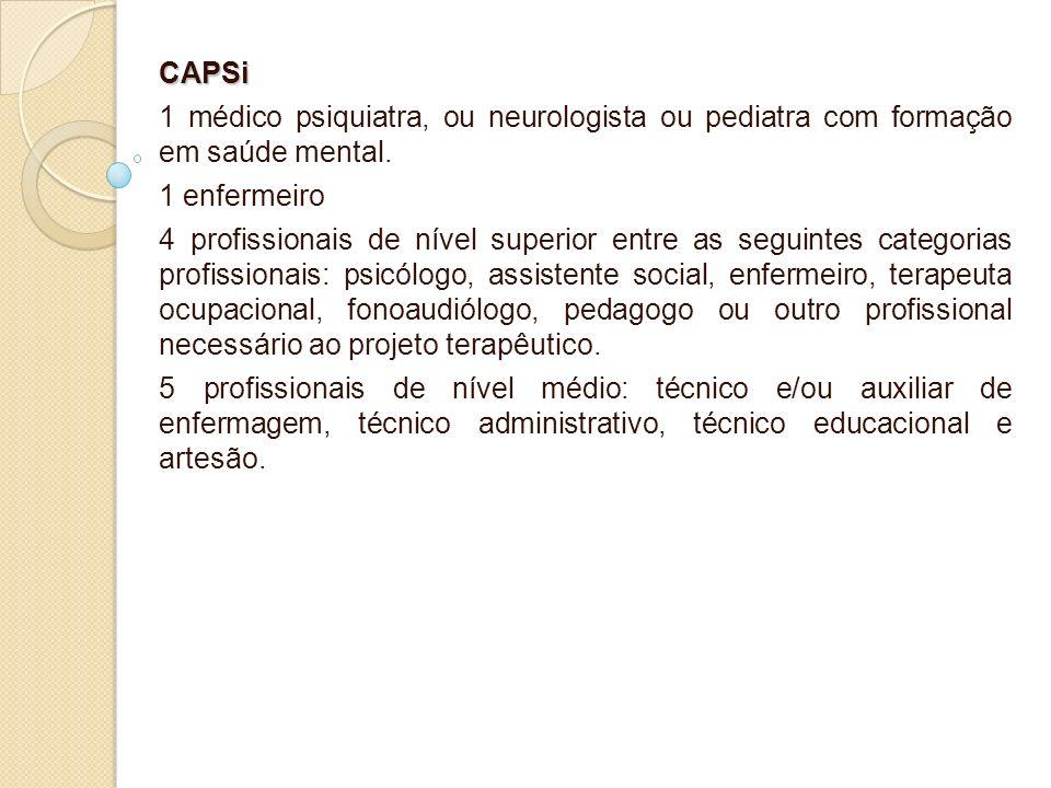 CAPSi 1 médico psiquiatra, ou neurologista ou pediatra com formação em saúde mental. 1 enfermeiro 4 profissionais de nível superior entre as seguintes