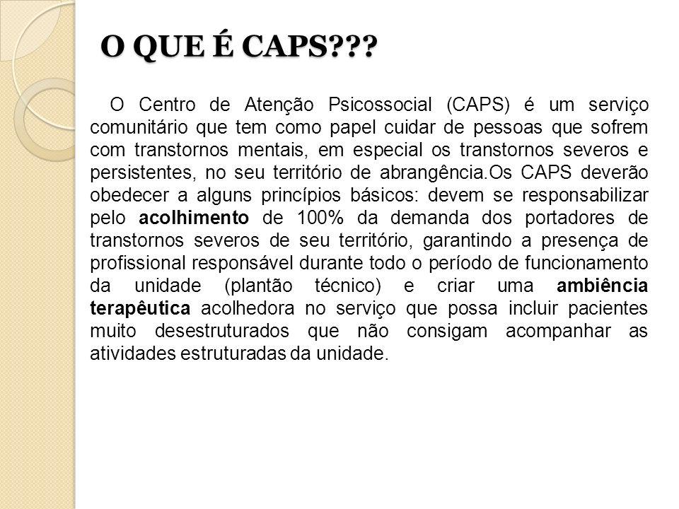 O QUE É CAPS??? O Centro de Atenção Psicossocial (CAPS) é um serviço comunitário que tem como papel cuidar de pessoas que sofrem com transtornos menta