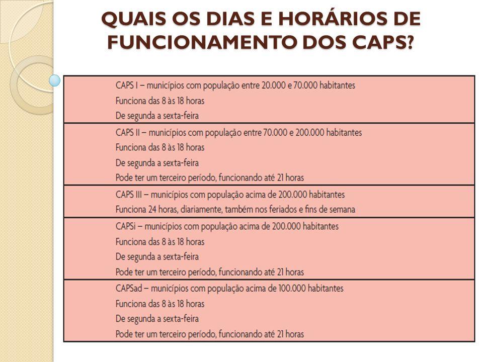 QUAIS OS DIAS E HORÁRIOS DE FUNCIONAMENTO DOS CAPS?
