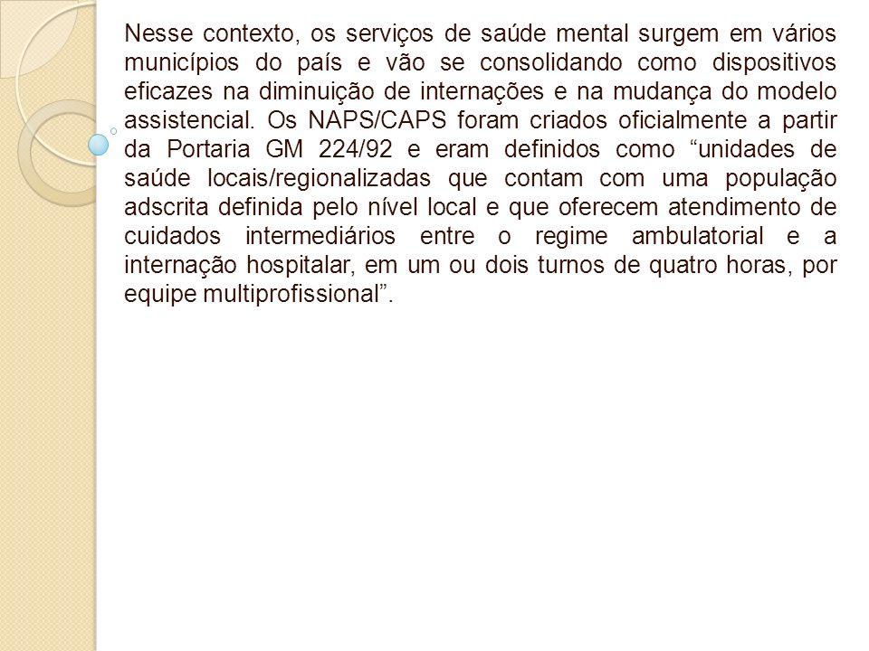 Nesse contexto, os serviços de saúde mental surgem em vários municípios do país e vão se consolidando como dispositivos eficazes na diminuição de inte
