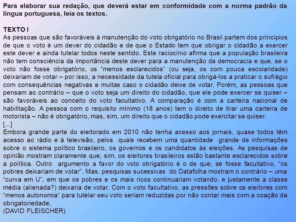 Para elaborar sua redação, que deverá estar em conformidade com a norma padrão da língua portuguesa, leia os textos. TEXTO I As pessoas que são favorá