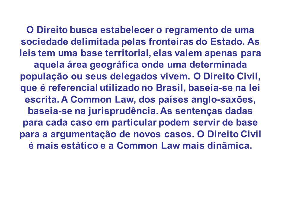 O Direito busca estabelecer o regramento de uma sociedade delimitada pelas fronteiras do Estado. As leis tem uma base territorial, elas valem apenas p